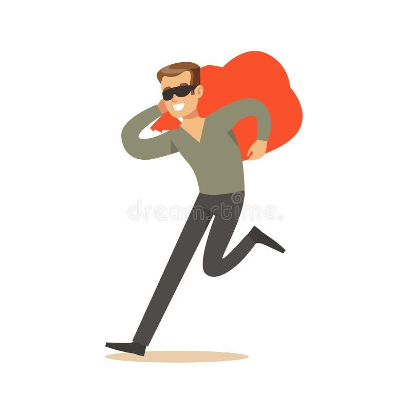 Voleur dans un masque noir portant un sac orange, illustration colorée de vecteur de caractère de vol illustration de vecteur
