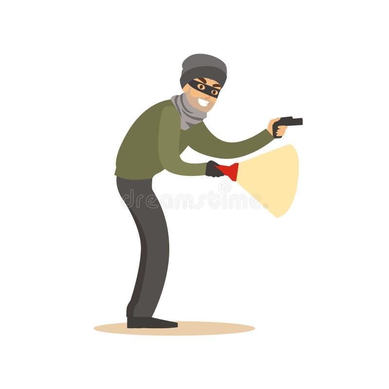 Voleur dans un masque noir sur les yeux avec la lampe-torche Illustration colorée de vecteur de personnage de dessin animé illustration stock