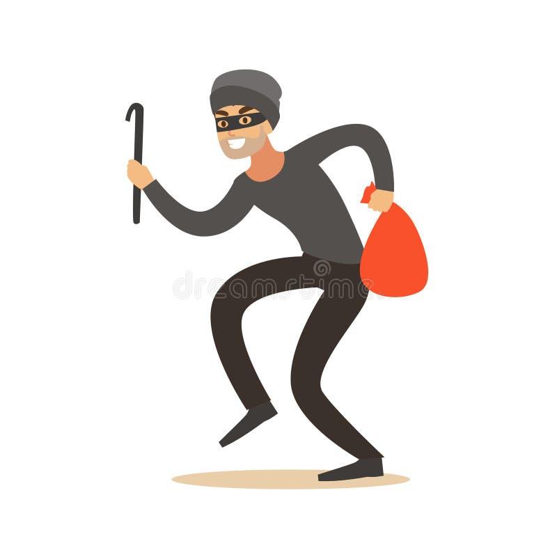 Voleur dans un masque partant furtivement avec un pied-de-biche et un sac, illustration colorée de vecteur de caractère de vol illustration stock