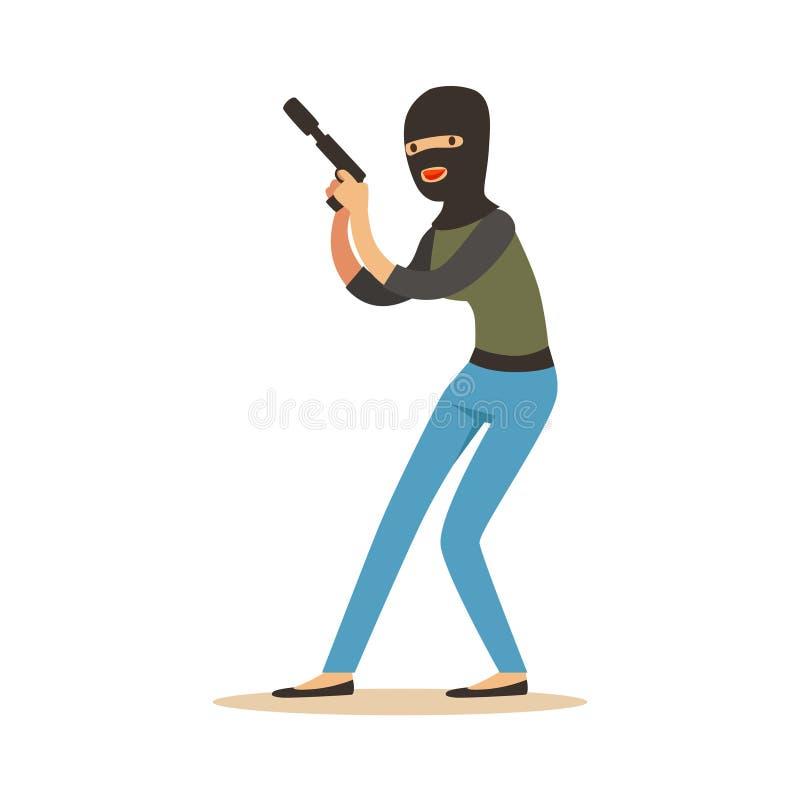 Voleur dans un passe-montagne noir tenant l'arme à feu, illustration colorée de vecteur de caractère de vol illustration stock