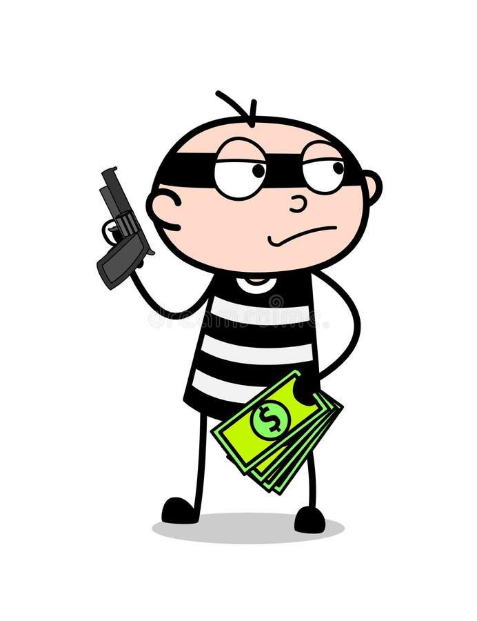 Voleur de bande dessinée avec l'argent et le pistolet illustration libre de droits