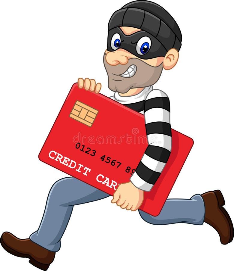 Voleur de bande dessinée dans un masque volant une carte bancaire et un fonctionnement  illustration stock