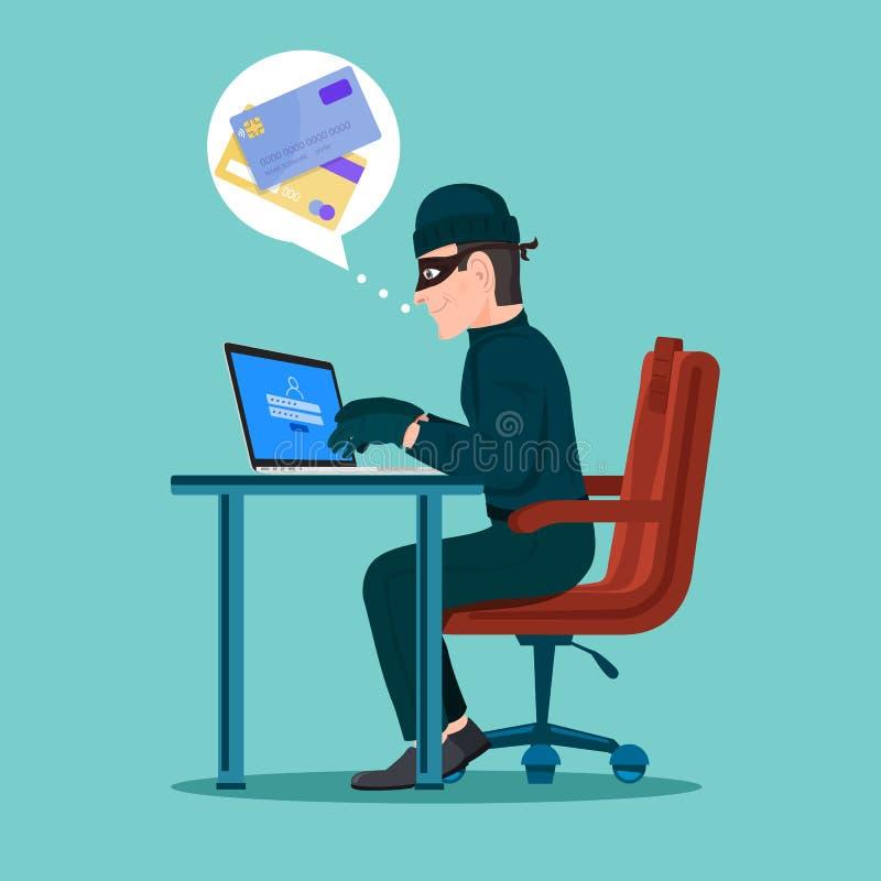 Voleur de cyber d'activité de pirate informatique sur le dispositif d'Internet illustration de vecteur