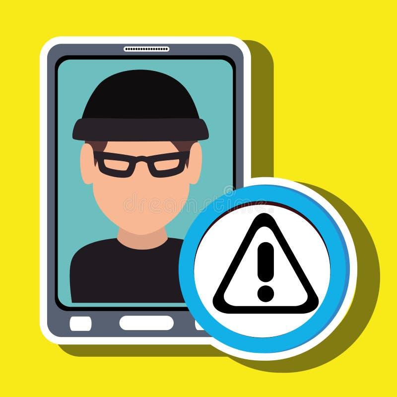 voleur de smartphone d'homme sûr illustration de vecteur