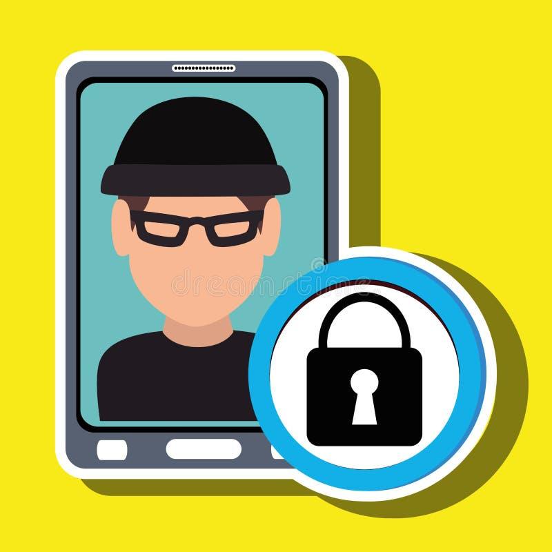 voleur de smartphone d'homme sûr illustration libre de droits