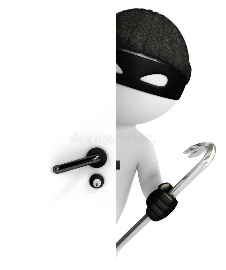 voleur des personnes de race blanche 3d regardant derrière la porte illustration libre de droits