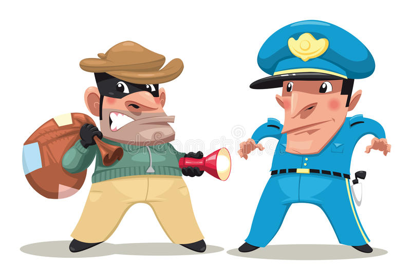 Voleur et dispositif protecteur. illustration stock
