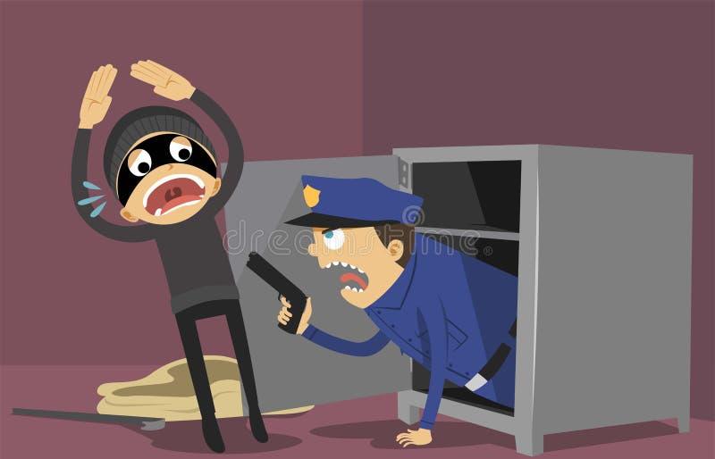 Voleur et police illustration stock