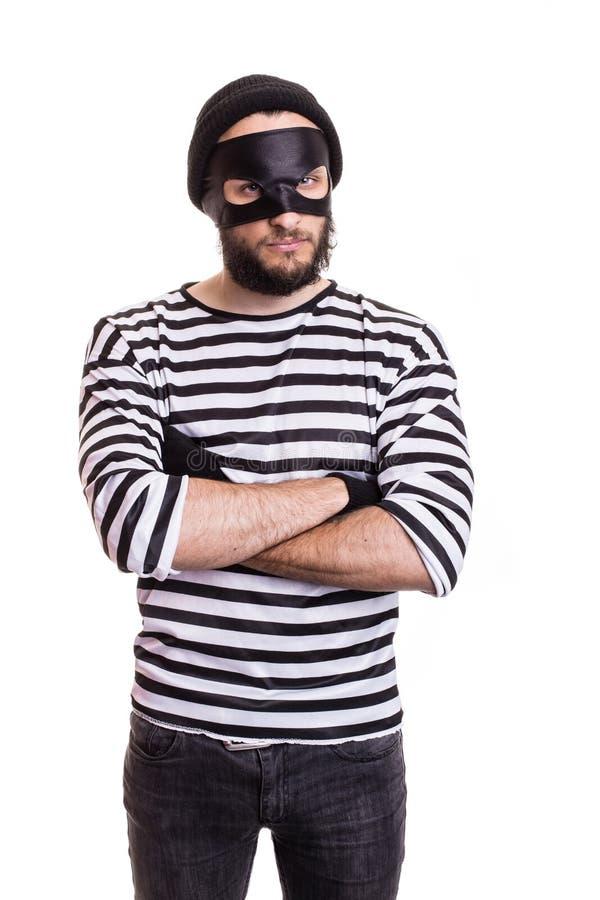 Voleur fâché avec le masque image libre de droits