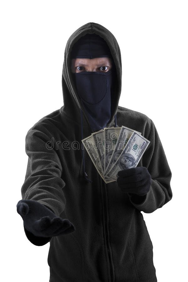 Voleur forçant à prendre l'argent liquide d'argent images libres de droits