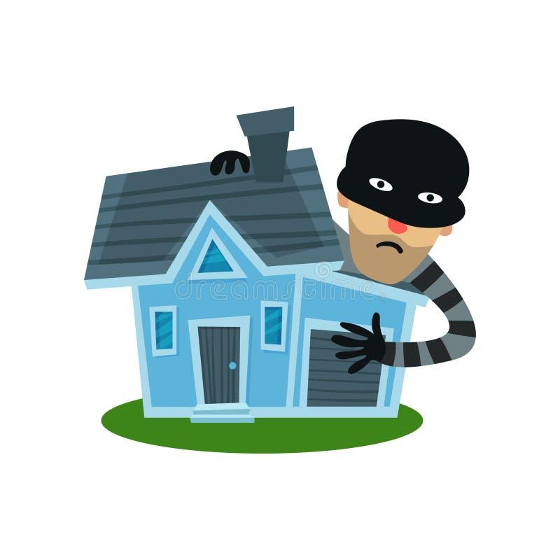 Voleur masculin dans la maison revêtue d'une robe de masque, illustration de vecteur d'assurance des biens illustration libre de droits