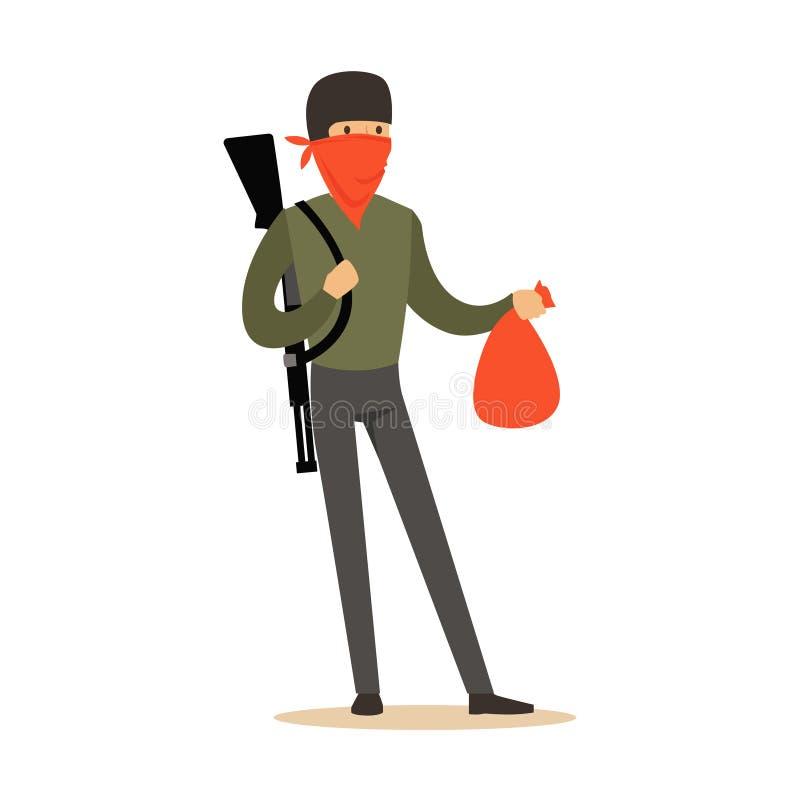 Voleur masqué avec le fusil sur son épaule portant un sac, illustration colorée de vecteur de caractère de vol illustration stock