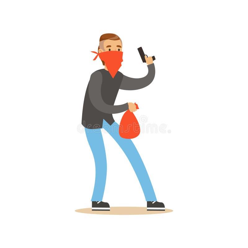 Voleur masqué tenant une arme à feu et portant un sac orange, illustration colorée de vecteur de caractère de vol illustration libre de droits