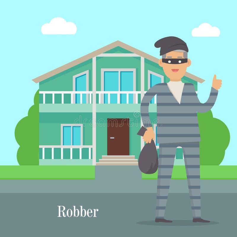 Voleur près de Chambre de cottage Voleur avec le sac de l'argent illustration libre de droits
