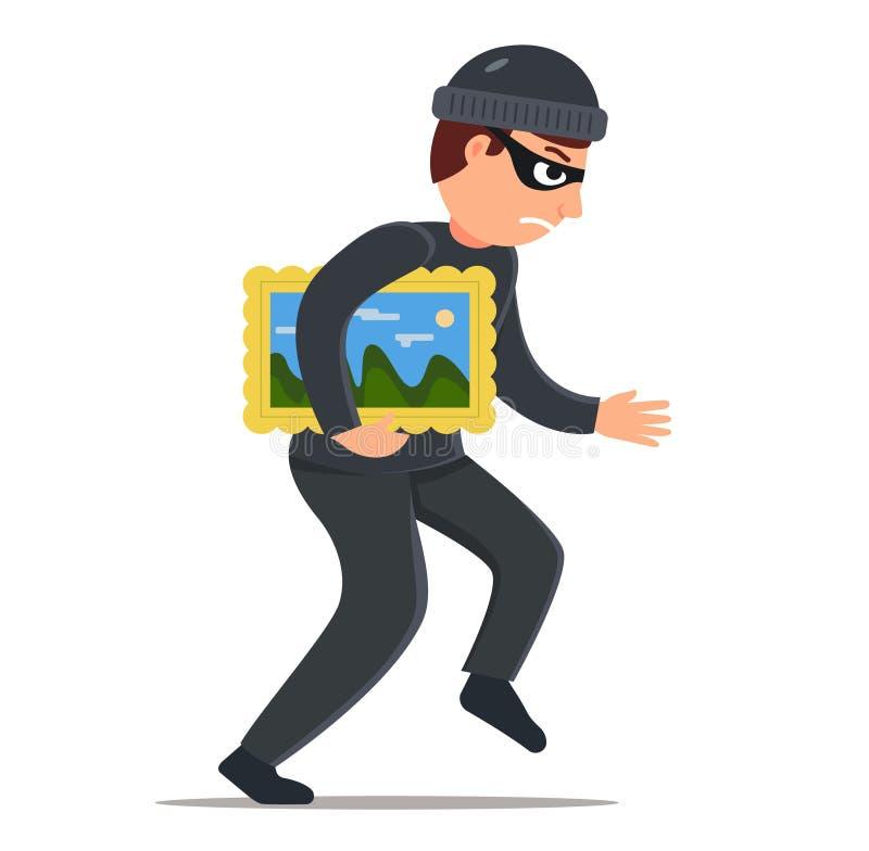 Volez une image d'un mus?e un homme dans les mouchards noirs d'un costume de camouflage caract?re sur le fond blanc illustration de vecteur