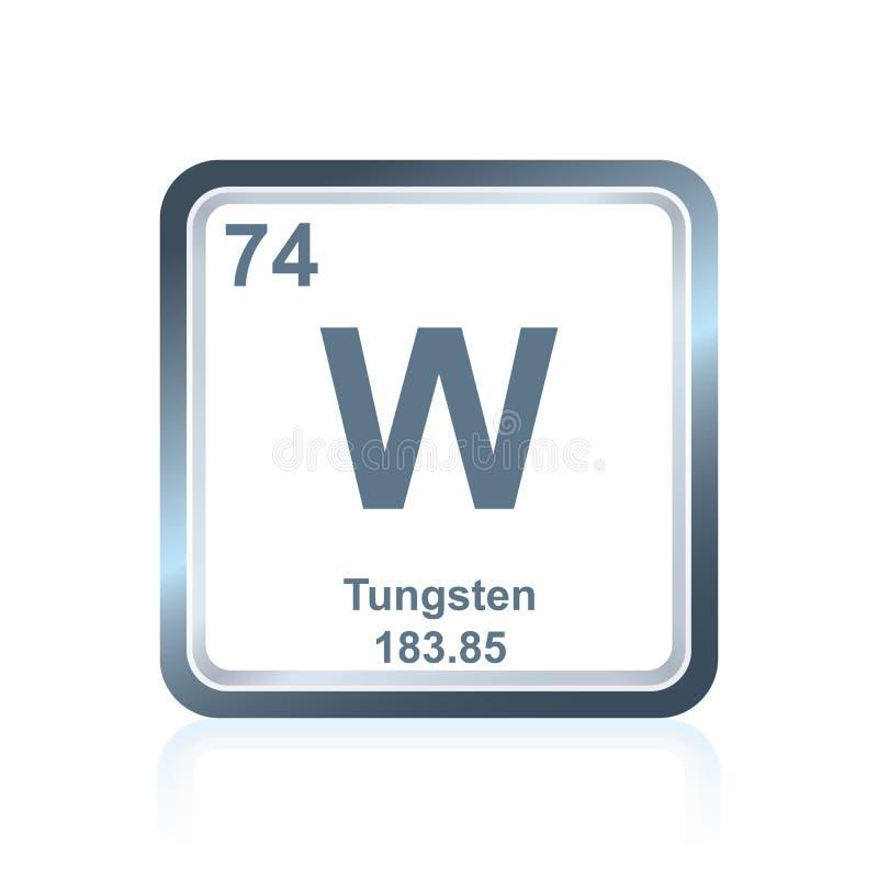 Volfram för kemisk beståndsdel från den periodiska tabellen royaltyfri illustrationer