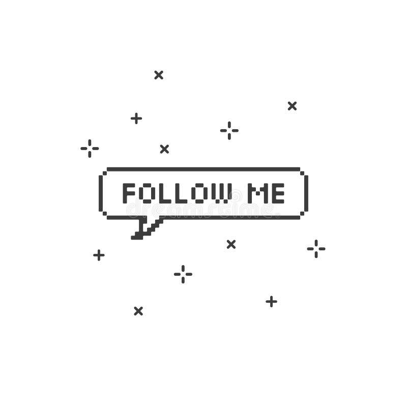 Volg me in het pixelart. met 8 bits van de toespraakbel royalty-vrije illustratie