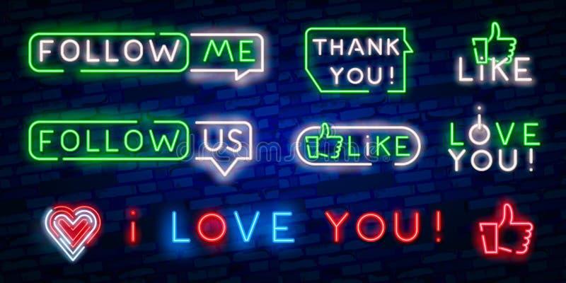 Volg me neonteken op de bakstenen muur met harten en toespraakbel Het realistische neoneffect voor sociale netwerken en voor volg vector illustratie
