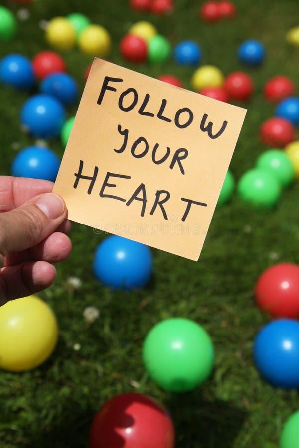 Volg uw hart royalty-vrije stock foto's
