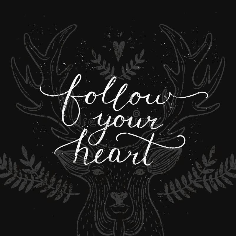 Volg uw hart, inspirational kaart royalty-vrije illustratie