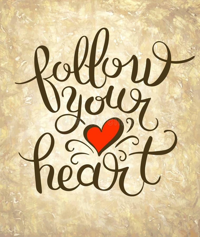 Volg uw inkt die van de hartinschrijving moderne borstel van letters voorzien calligr vector illustratie