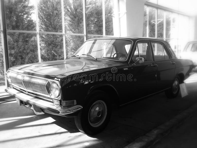 Volga Gaz-24. On exhibition of soviet automobile production, Black&white, VDNKH, Moscow royalty free stock photos