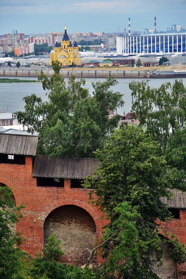Volga Kremlin w Nizhny Novgorod i rzeka, Rosja obrazy stock