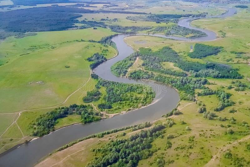 Volga river from a bird`s - eye view, Russia Federation, Tatarstan, Kazan stock images