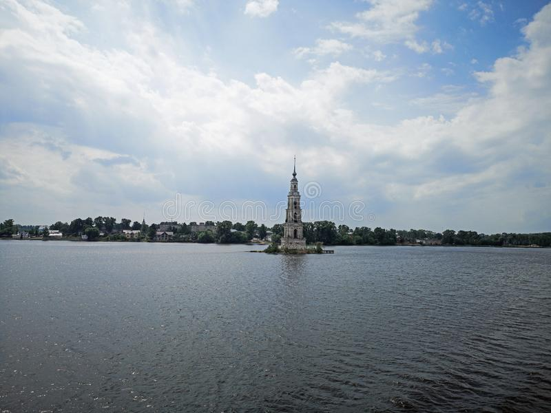 Volga river cruise bell tower of a flooded church royalty free stock photo