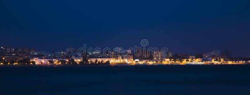 Volga river embankment at night in Samara, Russia. Panoramic view of the city. 3 July 2018 royalty free stock photos