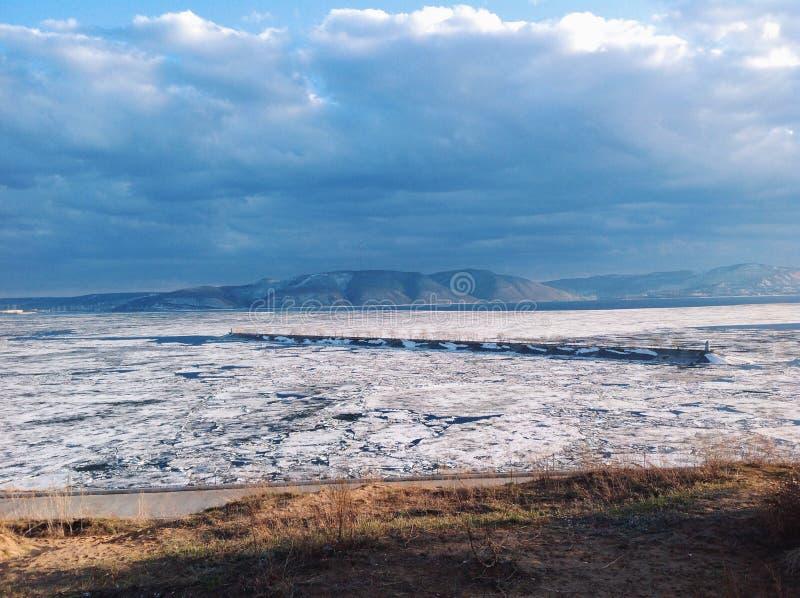 Volga river. Ice mountain colder royalty free stock photography