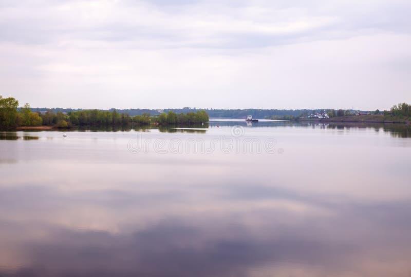 Volga river in morning at dawn stock images