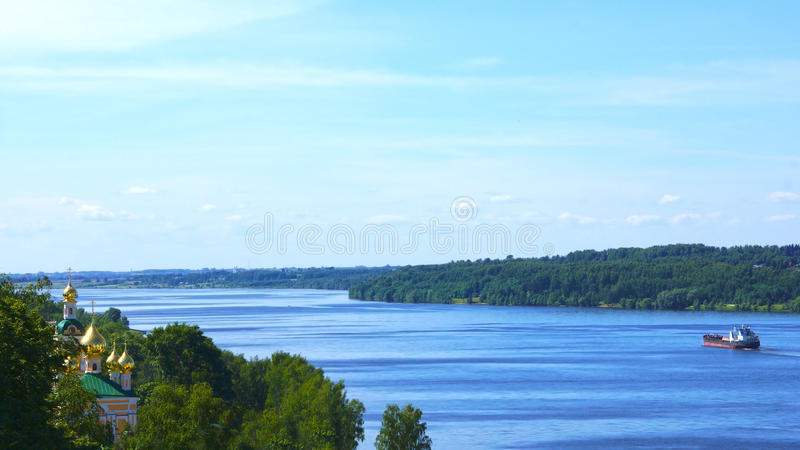 Volga River, Russia. Orthodox Church on the river Volga, Russia royalty free stock images