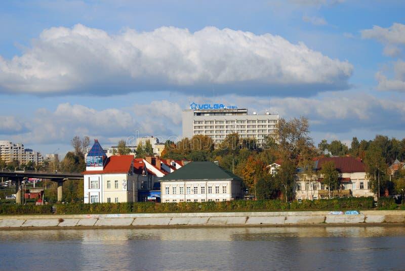 Volga rzeczny bulwar w Kostroma, Rosja fotografia royalty free