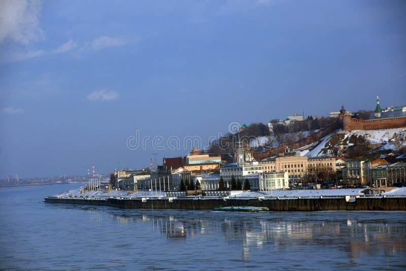 Volga rzeka Oko rzeka i Kremlin w Nizhny Novgorod, Rosja fotografia stock