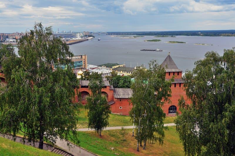 Volga rzeka Oko rzeka i Kremlin w Nizhny Novgorod, Rosja obraz royalty free