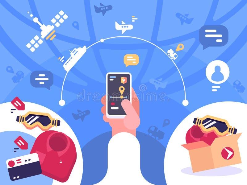 Volgend ordepakket op smartphone stock illustratie
