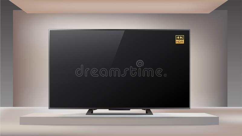 Volgende generatie slimme LEIDENE TV van 4K enlighted binnen studioachtergrond stock illustratie