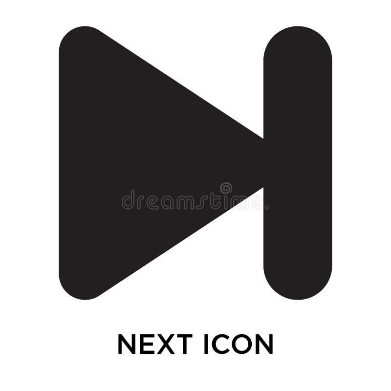 Volgende pictogram vectordieteken en symbool op witte achtergrond, N wordt geïsoleerd royalty-vrije illustratie
