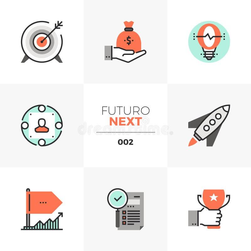 Volgende Pictogrammen bedrijf de Start van Futuro stock illustratie
