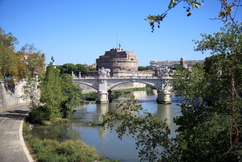 Tiber en Castel Sant'Angelo, Rome, Italië stock afbeelding