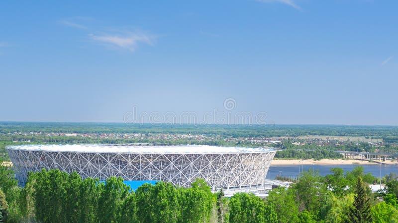 Volgograd, Ρωσία-22 Ιουλίου 2019: Γήπεδο ποδοσφαίρου Βόλγκογκραντ στο Βόλγκογκραντ πόλη στον ποταμό Βόλγα, το καλοκαίρι στοκ φωτογραφίες με δικαίωμα ελεύθερης χρήσης