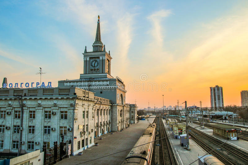 Volgograd, cielo, declino, stazione, uguagliante immagine stock