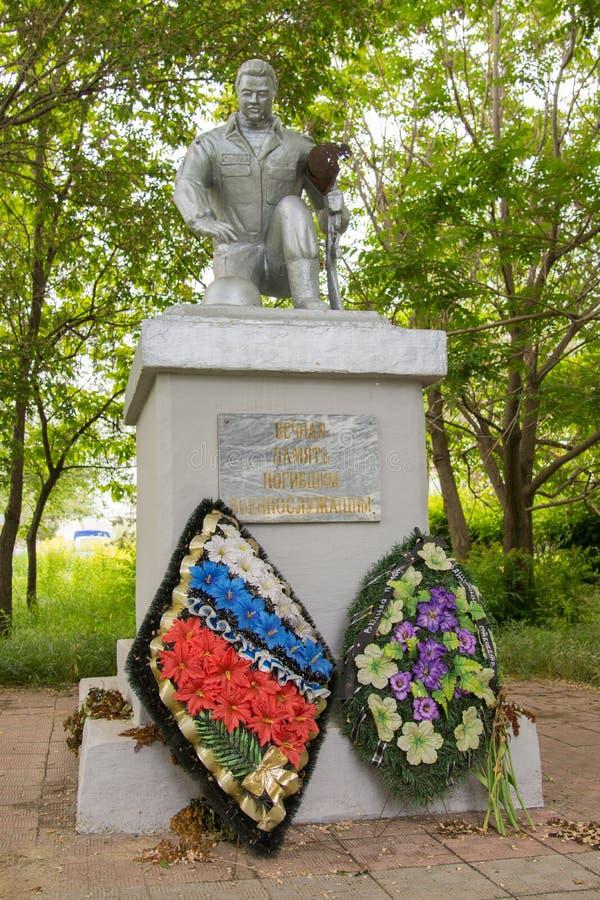 volgograd La Russia 2019, il 23 maggio Monumento ai soldati uccisi nel tempo di pace nel quadrato di memoria nel distretto di Kra fotografia stock