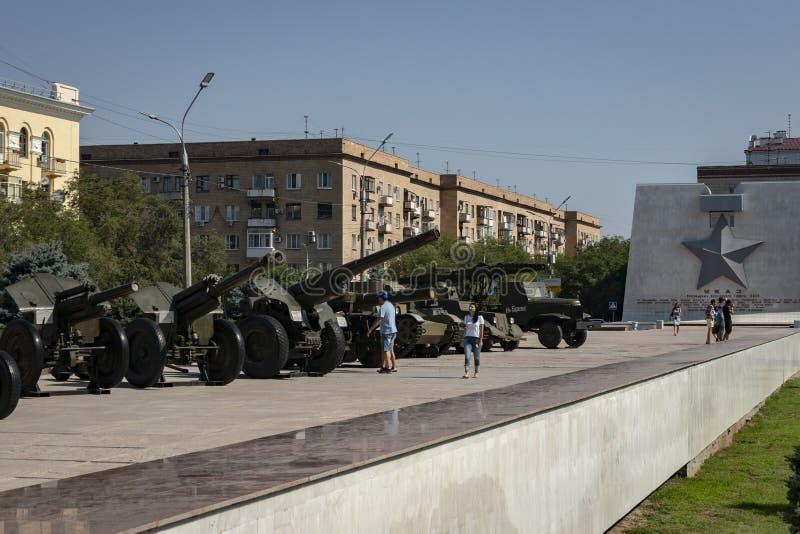 Volgograd, Rússia - 5 de agosto de 2018: Volgograd é uma cidade do herói Cada rua lembra de batalhas passadas fotos de stock