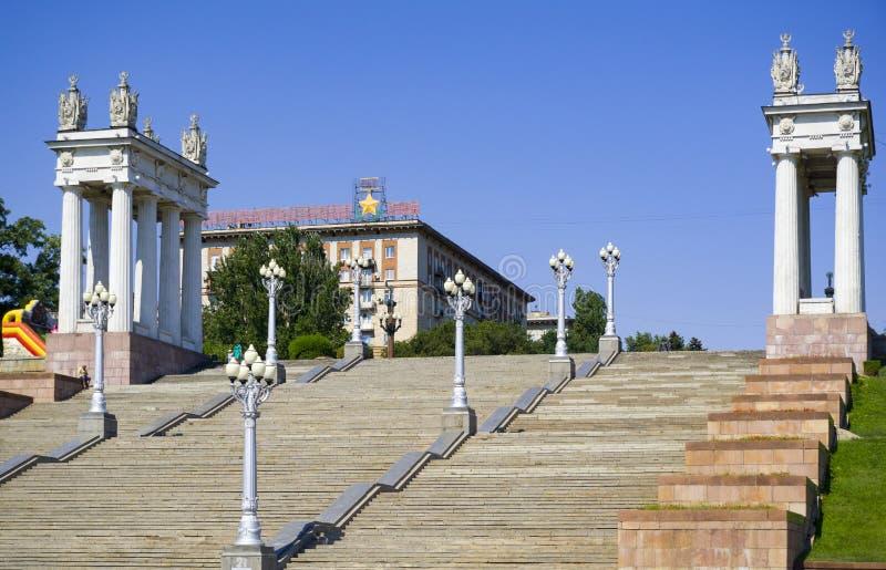 volgograd Remblai de la ville images stock