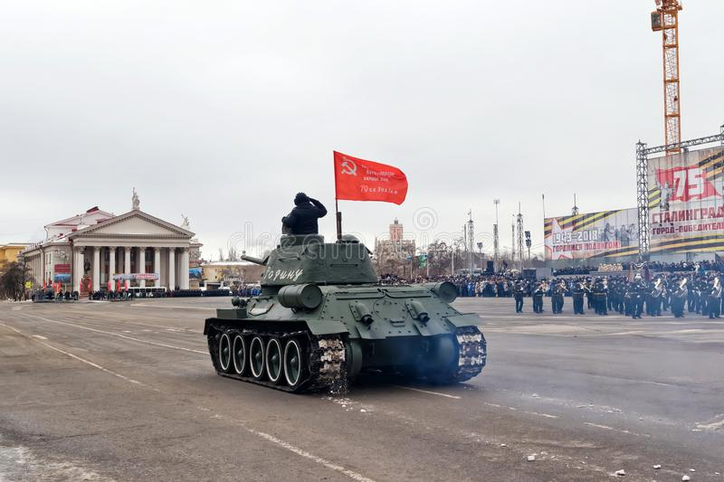 Parade of military equipment in Volgograd royalty free stock photography