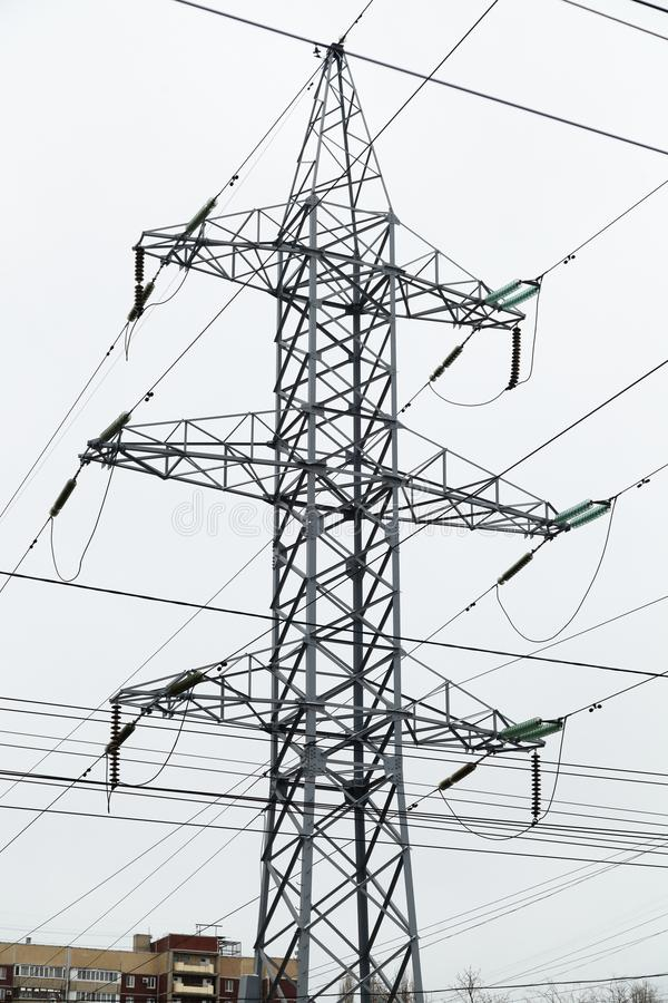 High-voltage support of a power line stock photos