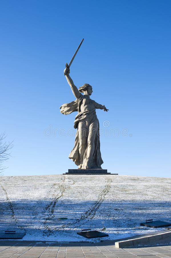 VOLGOGRAD, RUSSIA - JANUARY 15: Monument to World War II Motherland is calling on Mamayev Hill royalty free stock image