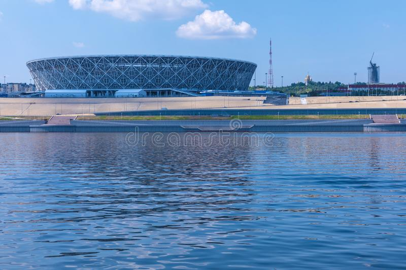 View from the Volga river on Volgograd Arena stadium in Volgograd, the stadium of FIFA world championship in Russia in 2018 in the. Volgograd, Russia - July 21 stock images